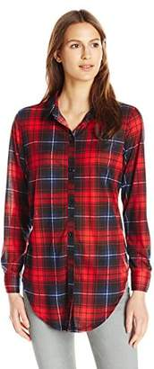 Paper Tee Women's Full Opened Placket Plaid Printed Top