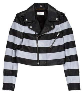 Saint Laurent Striped Leather Jacket w/ Tags