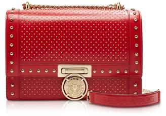 Balmain Red Studded Leather Baby Bbox 25 Shoulder Bag