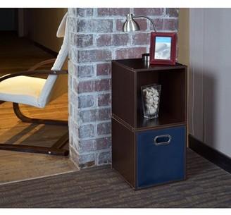 Cubo Regency Niche Storage Set of 2 Cubes and 1 Canvas Bin- Truffle/Blue