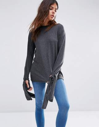 Asos Top in Longline with Long Sleeve and Tie Cuff Detil