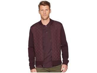 Perry Ellis Quilted Mix Media Knit Jacket