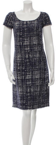 prada Prada Tweed Midi Dress