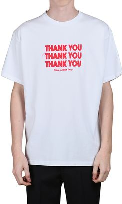 Thank You Printed Cotton Jersey T-Shirt $288 thestylecure.com