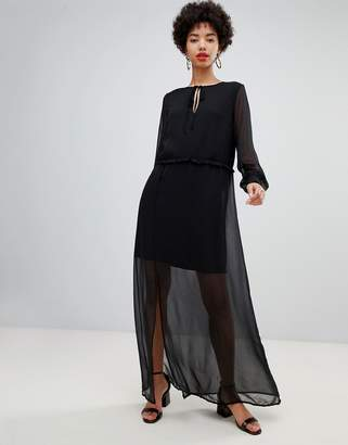 Vero Moda chiffon sheer maxi dress with cuff detail in black
