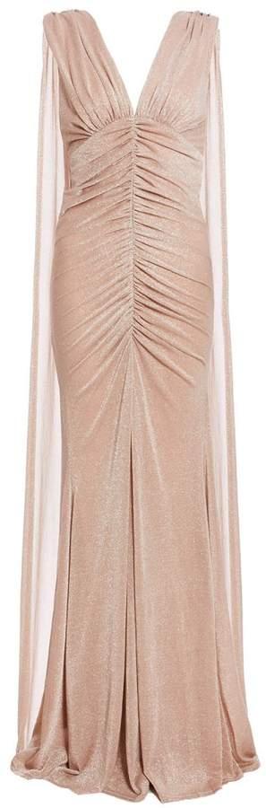 Nude Mesh V Neck Ruched Fishtail Maxi Dress