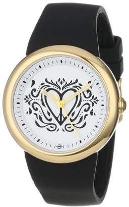 "PeaceLove Unisex F36G-PL-B Round Gold Tone Silicone Strap and ""Clark"" Art Dial Watch"