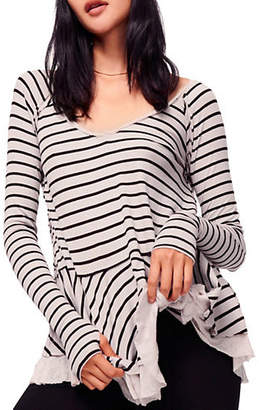 Free People Striped Ribbed Tee