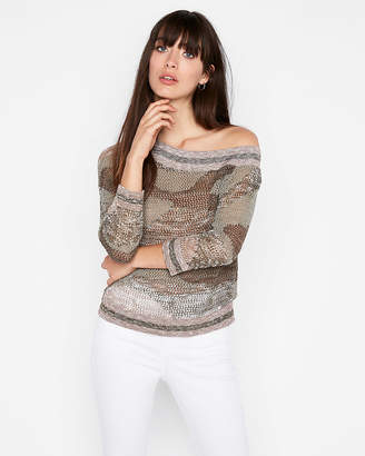 Express Asymmetrical Off The Shoulder Pullover Sweater