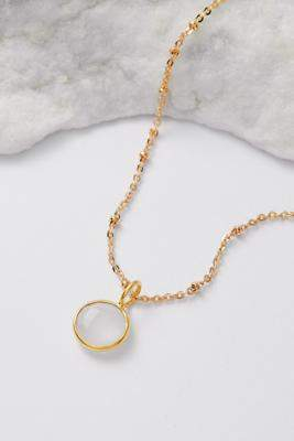 Mirabelle October Birthstone Pendant Gold-Plated Necklace - gold at Urban Outfitters