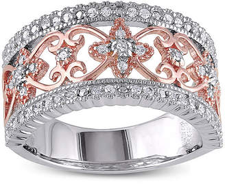FINE JEWELRY 1/7 CT. T.W. Diamond Two-Tone Sterling Silver Ring