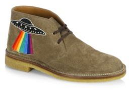 Gucci New Moreau Embroidered Suede Chukka Boots
