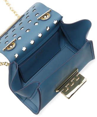 Zac Posen Eartha Floral-Perforated Chain Strap Leather Crossbody Bag, Medium Blue