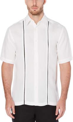Cubavera Linen Blend Pickstich Insert Panel Shirt