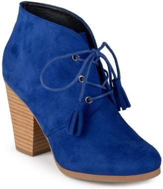 Co Brinley Women's Chunky Heel Lace-Up Faux Suede Ankle Booties