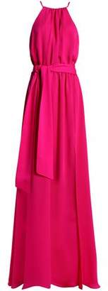 Halston Belted Crepe Gown