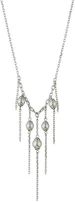 Majorica Pearl Chain Fringe Necklace, White