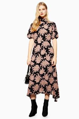 Topshop Paisley Print Hanky Hem Skater Dress