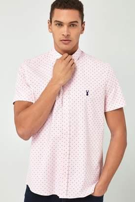 Next Mens Pink Print Slim Fit Short Sleeve Stretch Oxford Shirt