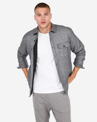 Express Slim Marled Quilted Button-Down Flannel Shirt