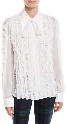 Michael Kors Long-Sleeve Button-Down Ruffled Silk Blouse