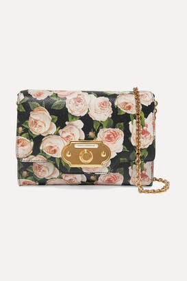 Dolce & Gabbana Welcome Floral-print Textured-leather Shoulder Bag - Pink