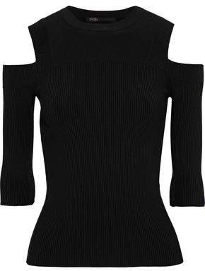Maje Manato Cold-shoulder Ribbed-knit Top