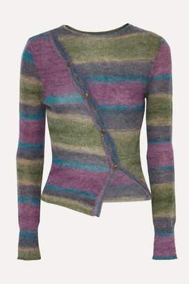 Jacquemus Button-detailed Striped Knitted Sweater - Purple
