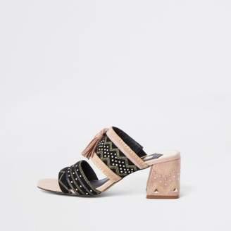 River Island Womens Black aztec low block heel sandals