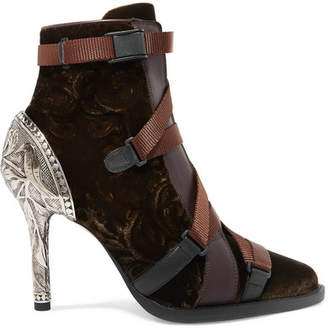 Chloé Tracy Rubber And Canvas-trimmed Leather And Velvet Ankle Boots - Brown