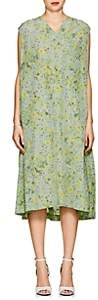 08sircus Women's Floral Crepe Shift Dress-Green Flower