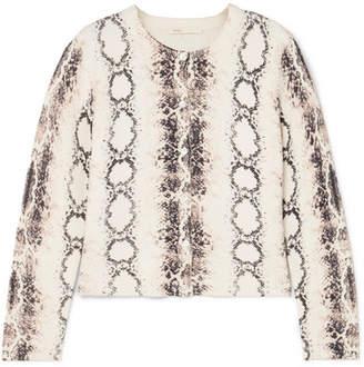 Maje Snake-print Knitted Cardigan