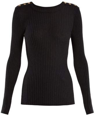 Balmain Ribbed Knit Top - Womens - Black