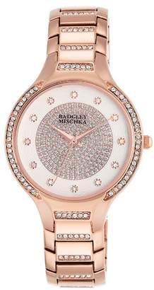 Badgley Mischka Women's Swarovski Crystal Accented Analog Bracelet Watch, 34mm