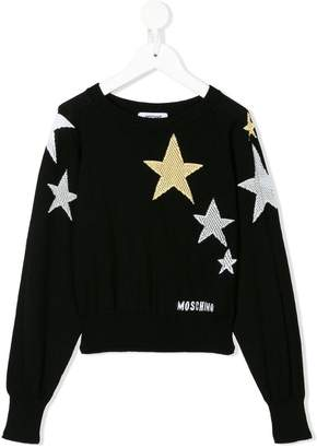 Moschino Kids open-knit star jumper