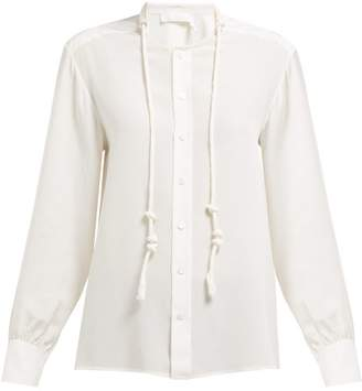 0f3f02eb0155d6 Chloé Twisted Drawcord Silk Crepe De Chine Blouse - Womens - Ivory