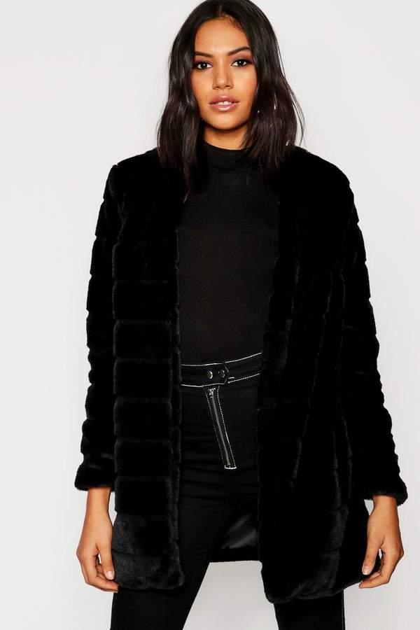 Panelled Faux Fur Coat