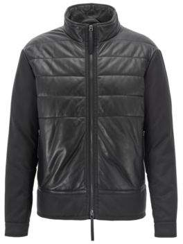 BOSS Hugo Padded blouson jacket in leather & technical canvas 42R Black