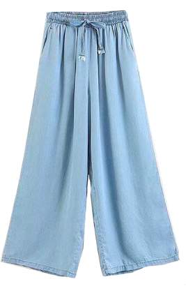 Goodnight Macaroon 'Coco' Pleated Waist Chambray Straight Pants (2 Colors)