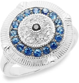 Judith Ripka Women's Lucky Sapphire Evil Eye Ring