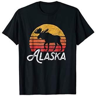 Alaska Moose Sunset T-Shirt - Retro Vintage Vibe Design