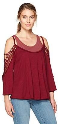 Democracy Women's Crochet Inset 3/4 Slv