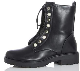 Quiz Black Pearl Detail Ankle Boots