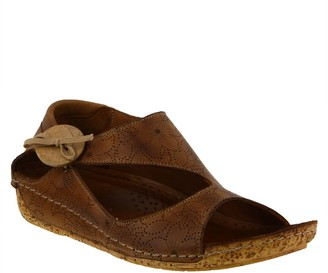 Spring Step Leather Wedge Sandals - Lorelle