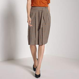 Anne Weyburn Printed Flared Skirt with Tie Belt