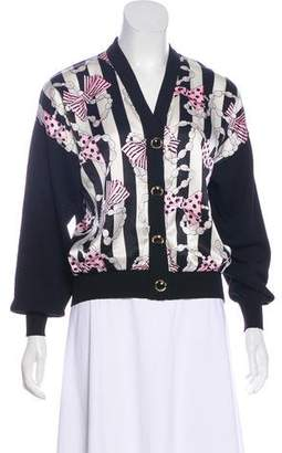 St. John Printed Button-Up Cardigan
