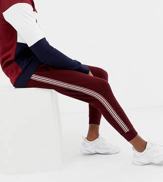 Burton Menswear Big & Tall taped joggers in burgundy