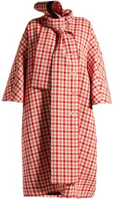 Balenciaga Gingham tie-neck wool-blend coat
