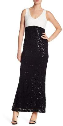 Marina Sequin Two Tone Gown
