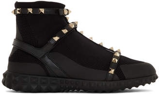 Valentino Black Garavani Rockstud High-Top Sneakers